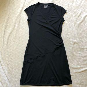 Athleta NECTAR faux wrap black dress/ SP